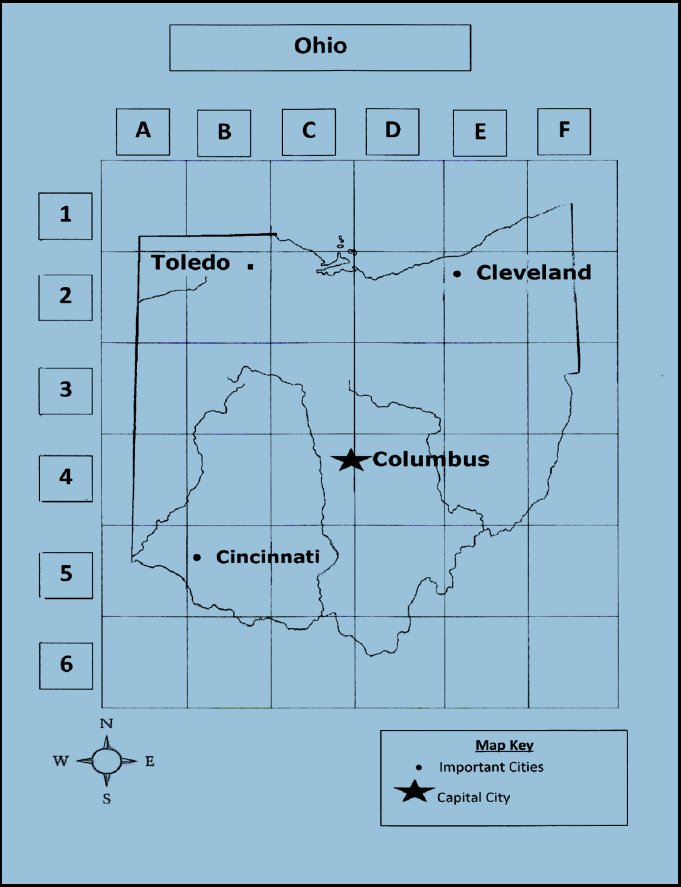 Geography Map Of Ohio.Student Reading 1 2 Cincinnati And Geography Reading A Map